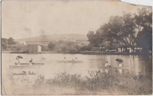 Nebraska Ne Real Photo RPPC Postcard 1908 PALISADE Wauneta Lake BOATS Lady Dress