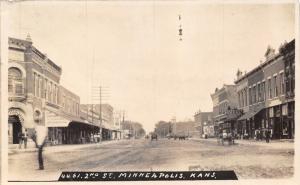 Minneapolis Kansas~2nd Street~Joe Johnston Dry Goods~Restaurant Bakery~1907 RPPC