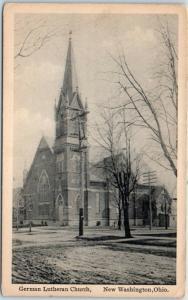 New Washington, Ohio Postcard German Lutheran Church Street View c1910s Unused