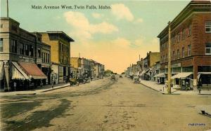 Autos C-1910 Main Avenue West Twin Falls Idaho Spokane postcard 9321