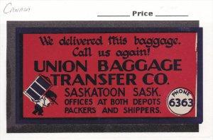 ADV: Union Baggage Transfer Co. SASKATOON, Saskatchewan, Canada, 1940-60s
