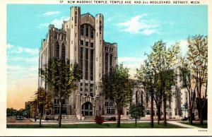 Michigan Detroit New Masonic Temple Curteich