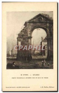 Old Postcard Guardi Triumphal Gate Old On A Pier In Venice Musee Cognac-Jay P...