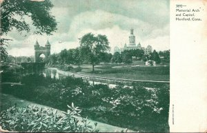 Connecticut Hartford Memorial Arch and Capitol 1910