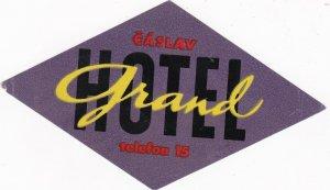 Czechoslovakia Caslav Hotel Grand Vintage Luggage Label sk4449