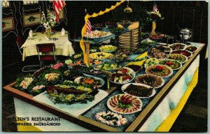 Chicago, IL Postcard NIELSEN'S RESTAURANT Smorgasbord Buffet Table Linen 1940s