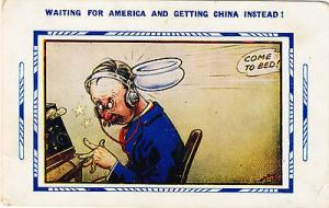 Switchboard Man Getting Hit With China Comic Postcard
