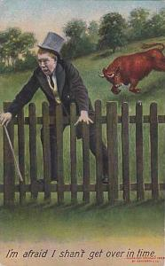 Comic, Man Trying To Get Over The Fence, Bull Behind Him, 1900-1910s