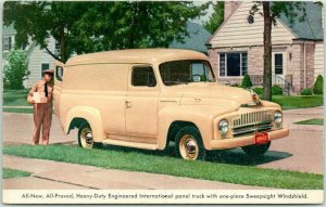 1950 INTERNATIONAL Panel Truck Postcard Delivery Man / Automobile Advertising