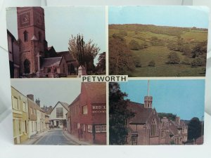 Vintage Multiview Postcard Petworth Sussex Middle Street St Marys Church etc