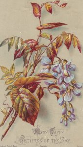 Leaves & flowers, Many Happy Returns of the Day , 1890s ; TUCK