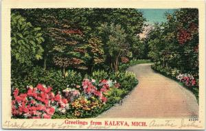 Postcard MI Kaleva Greetings from Kaleva Michigan Vintage Linen #1 F16