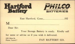 Hartford Battery Philco Diamond Grid Fay Battery Laurel/East Hartford Postal