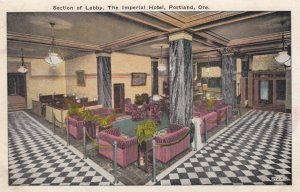 PORTLAND, Oregon, 1900-10s; Section of Lobby, The Imperial Hotel