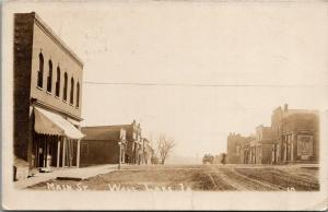 Wall Lake IA~Main Street~Wolf Bros~Johnson Swanson Hardware~JD Benson~1916 RPPC