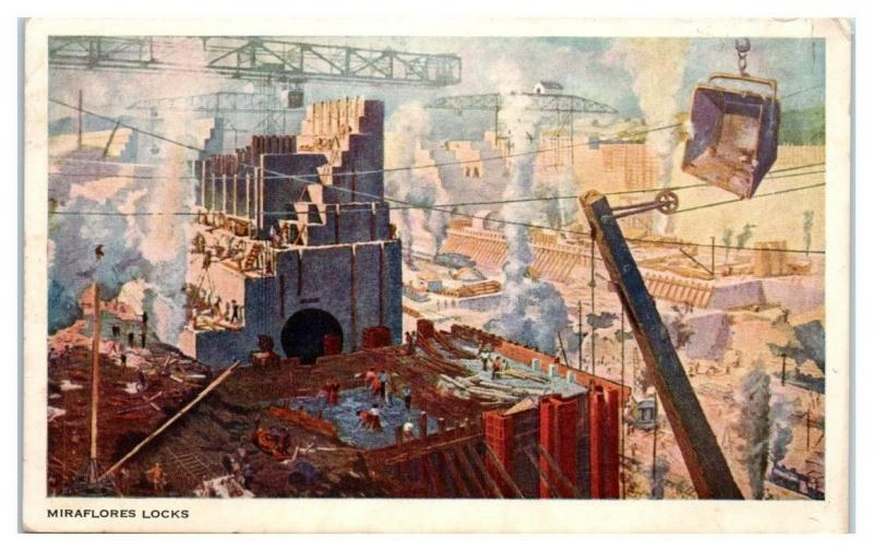 Construction of Miraflores Locks Panama Canal Postcard