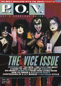 Advertising P O V Men's Magazine KISS On Cover 1997