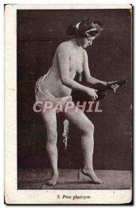 Postcard Old erotic Nude Woman Laying plastic