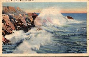 Florida Atlantic Beach The Jetties 1945 Curteich