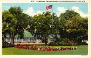 Ohio Warren Packard Park Flower Bed and Shelter House Curteich