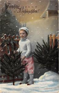 BG8351 child boy fir  weihnachten christmas greetings germany