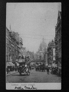 London FLEET STREET Animated Scene c1907 Postcard by E.F.A.