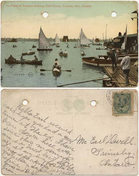 Postcard - 1911 Toronto Rowing Club House Used in Toronto