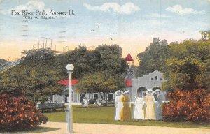 Fox River Park Aurora Illinois 1914 postcard