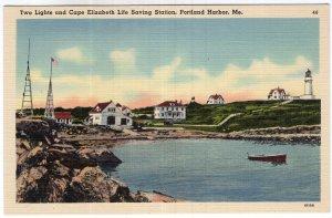 Portland Harbor, Me, Two Lights and Cape Elizabeth Life Savings Station