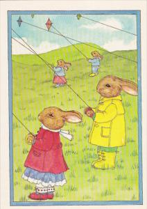 AS: Fly A Kite by Susan Whited LaBelle, Rabbits in a Meadow on a windy day, 1984
