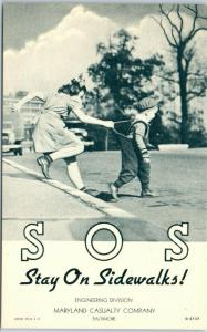 1940s Linen Advertising Postcard MARYLAND CASUALTY CO SOS - Stay On Sidewalks