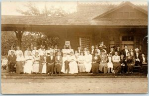 1910s RPPC Real Photo Postcard Large Group of People on Railroad Depot Platform
