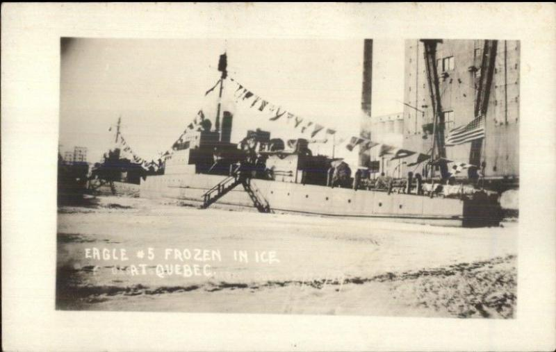 Quebec City Naval Ship Eagle #5 in Ice 1919 Real Photo Postcard