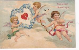 Valentine's Day With Cupids and Blue Flowered Heart 1909