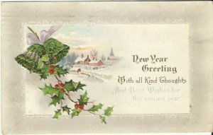 Vintage Postcard, New Year Greeting With All Kind Thoughts And Best Wishes