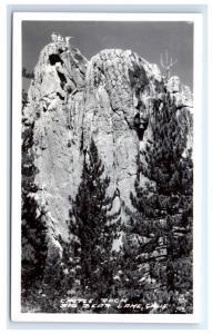 Postcard Castle Rock, Big Bear Lake, CA RPPC a group of hikers on top D14