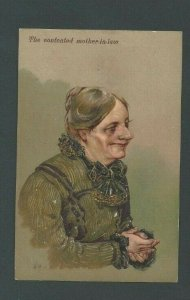 1911 Post Card Humor The Contented Mother-In-Law W/Closed Hands Embossed