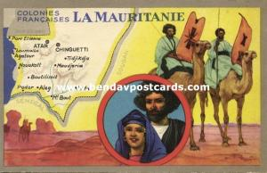 Mauritania MAP Trade Card Lion Noir, Native People, Warriors  Horseback (1940s)