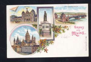 GRUSS AUS MAINZ GERMANY 1901 ANTIQUE VINTAGE MULTI VIEW POSTCARD GERMAN