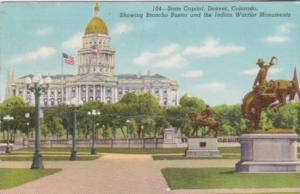 Colorado Denver State Capitol Building Showing Broncho Buster & Indian Warrio...