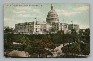 U.S. Capitol West View Building Flag Trees Street View Washington D.C. Postcard