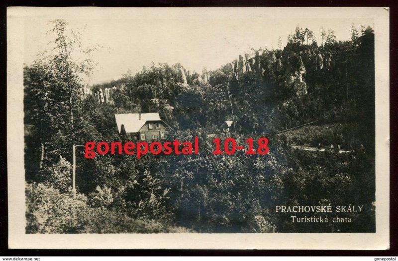 dc1770 - CZECHIA Prachovske Skaly 1931 Turisticka Chata. Real Photo Postcard
