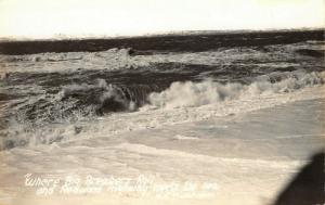 California~Redwood Highway Meets the Sea~Big Ocean Breakers Roll~1940s RPPC