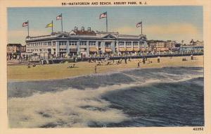 ASBURY PARK, New Jersey, 1930-1940's; Natatorium And Beach