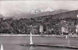 Switzerland Geneve Le phare des Paquis et le Mont Blanc 1955 Photo