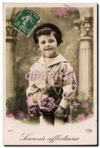 Old Postcard Fun Children Garcon affectionate remembrance