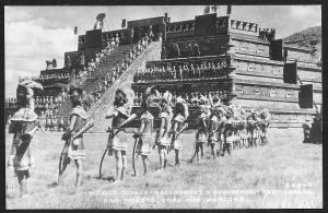 Pyramid High Priests Gods & Warriors Teotihuacan MEXICO RPPC Unused c1940s