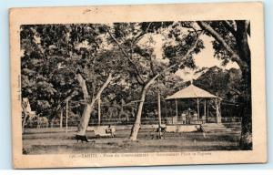 Tahiti Papeete Government Place Gazebo Park Benches Bike Vintage Postcard D81
