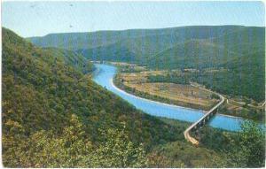 Hyner Bridge, U.S. 120, Susquehanna River, Hyner Pennsylvania, PA, 1959 Chrome