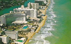 Aerial View, Hotel Line, Swimming Pools, MIAMI BEACH, Florida, 40-60's